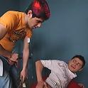Cute alt guy uses spatula on a super hot gay ass