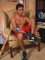 Athletic Latin boy Sylvio jerks off his very thick cock.